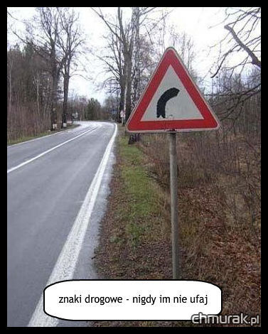 znaki drogowe nigdy im nie ufaj