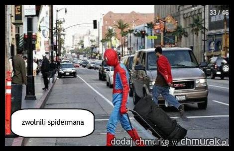 zwolnili spidermana