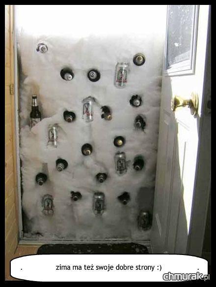 zima ma też swoje dobre strony - zamrażarka na piwo